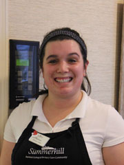 Melissa O'Neil, Summerhill's Employee of the Month for December 2016