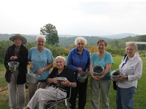 Ruth, Jean, Andy, Shirley, Marge, & Sheri went blueberry picking